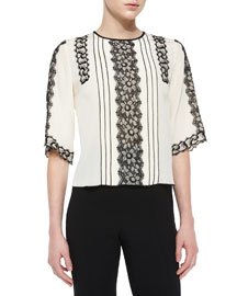 Silk Blouse with Lace Trim, Cream