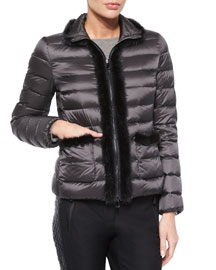 Templez Quilted Fur-Trim Puffer Jacket, Charcoal