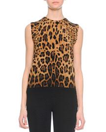 Cashmere Leopard-Print Underpinning Top