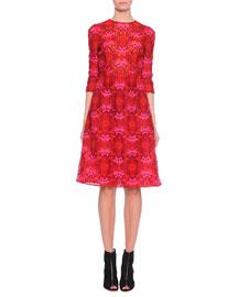 Floral Macrame A-Line Dress