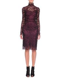 Floral-Lace Scalloped Sheath Dress, Aubergine