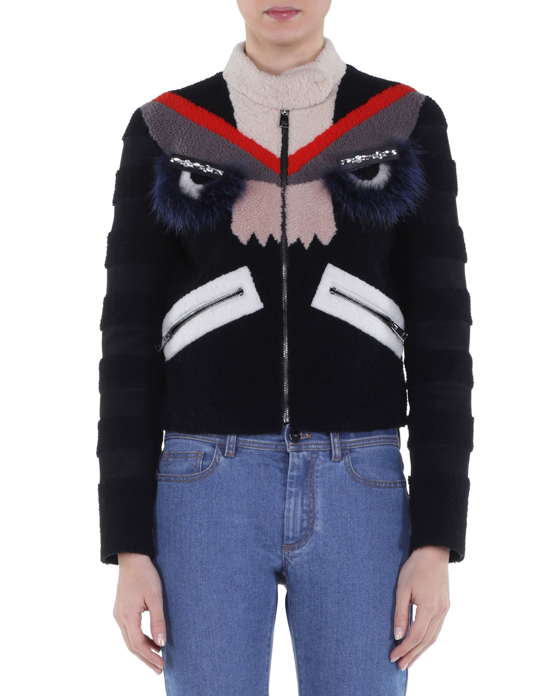 Bug Eyes Fur-Embellished Shearling Jacket