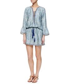 Ria Paisley-Print Tassel Dress