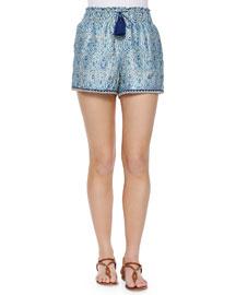 Smocked Paisley-Print Tassel Shorts