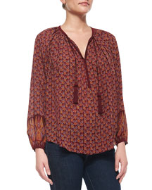 Long-Sleeve Block-Print Blouse