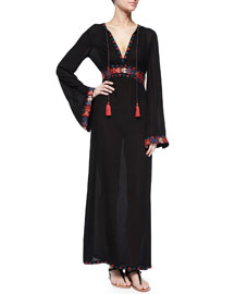 Long-Sleeve Contrast-Embroidered Maxi Dress