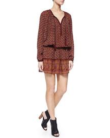 Long-Sleeve Block-Print Dress