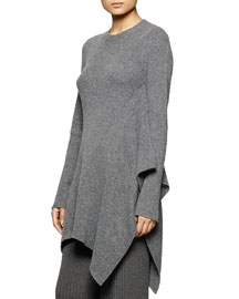 Asymmetric Ribbed Tunic Sweater, Gray
