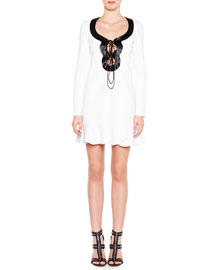 Beaded Lace-Up Dress with Flounce Hem