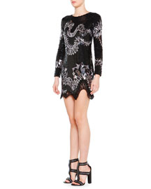 Long-Sleeve Sequin-Embroidered Dress