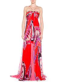 Printed Silk Halter Gown, Pink