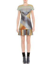 Crisscross Metallic Striped Flounce Dress