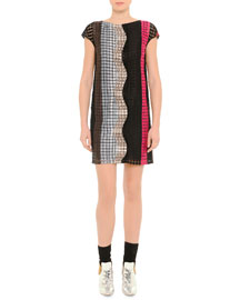 Wavy Grid Macrame Shift Dress