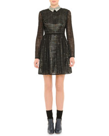 Grid Pattern Macrame Fit-And-Flare Dress