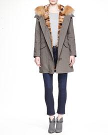 Parker Fox-Fur Lined Mid-Length Coat