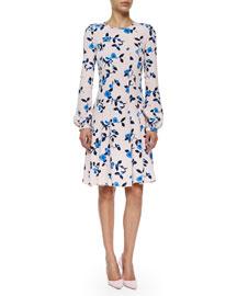 Floral-Print Long-Sleeve Dress, Soft Pink