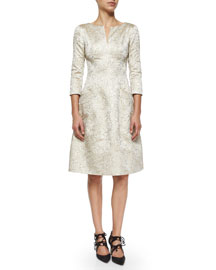 Split-Neck 3/4-Sleeve Dress, Gold