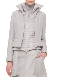 Quilted Cashmere-Blend Short Jacket