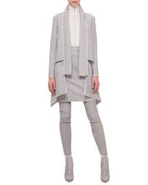 Double-Face Wool Apron Skirt, Gravel