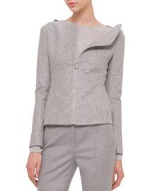 Double-Faced Cashmere-Blend Shoulder-Zip Jacket