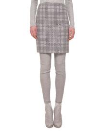 A Jour Plaid Pencil Skirt
