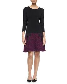 3/4-Sleeve Knit Dress w/Tweed-Effect Skirt