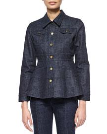 Long-Sleeve Denim Jacket, Indigo