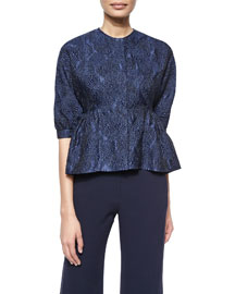 Cropped Elbow-Sleeve Jacket, Navy
