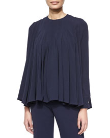 Long-Sleeve Jewel-Neck Pleated Top, Navy