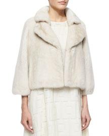 Bracelet-Sleeve Mink Fur Coat, Pearl