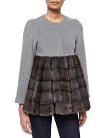 Fur Contrast Peplum Coat
