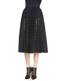 Plaid-Print Dotted Tulle-Inset Skirt