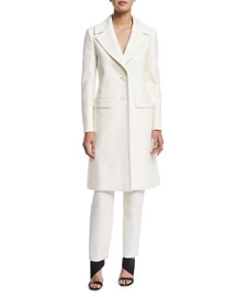 Fitted A-Line Wool-Cashmere Coat, Ivory
