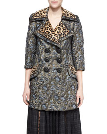 Leopard-Print Trimmed Double-Breasted Coat