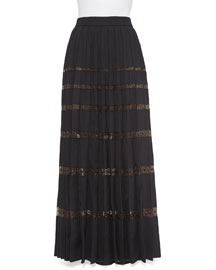 Long Pleated Skirt w/ Crystal Tulle Insets
