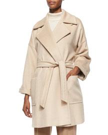 Velia Camel Hair Short Wrap Coat