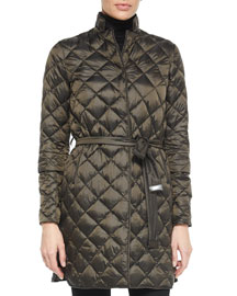 Diamond-Quilted Convertible Down Coat