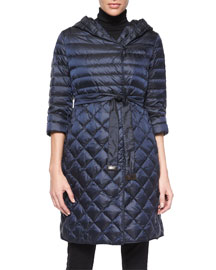 Mixed Pattern Quilted Down Coat