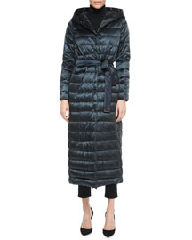 Hooded Horizontal-Quilted Down Parka Coat