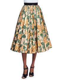 Floral Ikat Pleated Midi Skirt