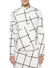 Jigsaw Windowpane-Print Jacket