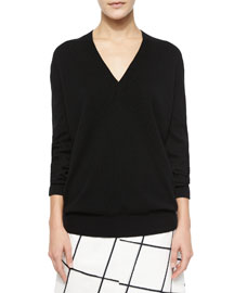 Long-Sleeve V-Neck Cashmere Sweater