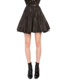 Crinkled Leather Flared Skirt