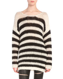 Striped Long-Sleeve Knit Sweater, Black/White