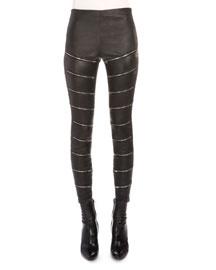 Zip-Slit Leather Pants, Black