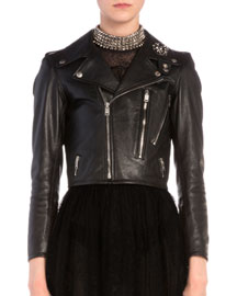 Brooch-Detailed Cropped Leather Moto Jacket