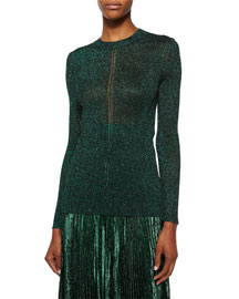 Shimmer Hemstitched Knit Sweater, Emerald
