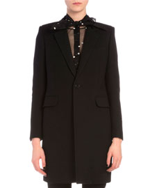 Velvet-Trimmed Collar One-Button Coat