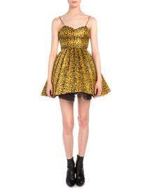 Leopard-Print Plisse Fit-And-Flare Dress