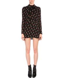 Lipstick-Print Tie-Neck Mini Dress